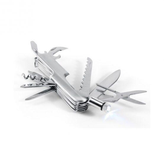 Gadget pubblicitario promozionale coltellino in metallo personalizzabile multifunzioni con torcia con incisione laser