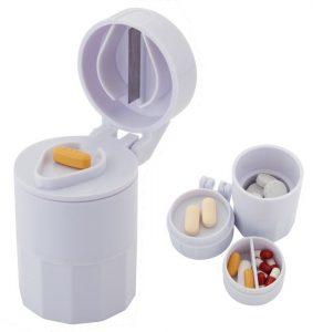 Portapillole da viaggio con lametta taglia pastiglie
