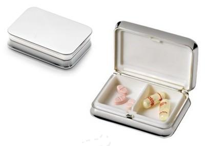 art. 1117 portapillole in silver plated personalizzabile con logo tramite incisione laser elegante gadget articolo promozionale athenapromotion